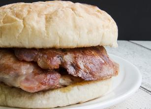 3 rashers of grilled bacon in every roll, so tasty