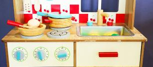 We have upgraded out kids corner with a new kitchen toy with all the bits and pieces...