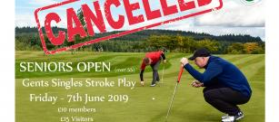 Seniors Strokeplay Open - Friday 7th June - CANCELLED